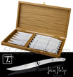 Gift box 6 -LE THIERS 140- steak knives Jean-Philip Goldsmith - blade and handle made from bright stainless steel  delivered in oak wooden box - suitable for dishwasher