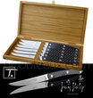 Gift box 6 LE THIERS steak knives Jean-Philip Goldsmith - stainless steel bright blade and carbon handle  delivered in oak wooden box - suitable for dishwasher