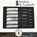 Fonderie de Laguiole: box with 6 design knives PAUL said the Bleiz-Mor with blade with BLACK Corian handles