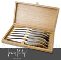 Laguiole VENUS by Jean-Philip - Box of 6 Laguiole knives - Marbered BLOND TIP HORN handel and stainless steel blade - delivered in Oak wooden box