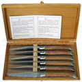 Wooden Box 6 laguiole steak knives Au Sabot with olive wood handle  satin stainless steel blade and bolsters