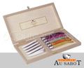 LAGUIOLE HARMONY Steak knives - plexi colored handle with 1 stainless BOLSTER  Wooden chest of 6 knives mixed colors handles