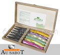 Wooden Box 6 Le Thiers steak knives Au Sabot - MULTICOLOR plexi handle - polished stainless steel blade