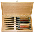 ARTO cutlery - Gift box 6 laguiole steak knives - satin stainless steel blade bolsters and plates  the handles are made in olivewood boxwood ebony palissander rosewood snakewood - delivered in oak wooden box