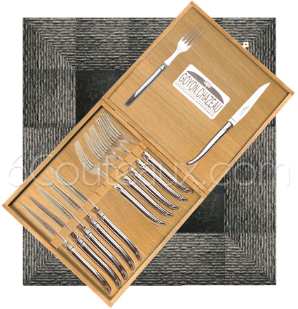 Box 12 PRESTIGE Laguiole table-cloth forged stainless steel, 6 knives and 6 forks Laguiole