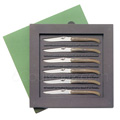 Box 6 Forge de Laguiole steak knives - BLOND tip horn handle designer : Philippe STARCK