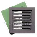 Box 6 Forge de Laguiole steak knives - BLACK tip horn handle designer : Philippe STARCK