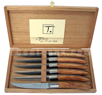Au Sabot knives THIERS OLIVE wood handles