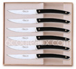 Gift box 6 stainless steel LE THIERS High-Tech steak knives Claude Dozorme with BLACK aluminum handle