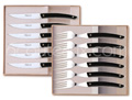 Gift boxes of LE THIERS High-Tech Claude Dozorme 6 steak knives and 6 forks with BLACK aluminum handle