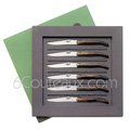 Box 6 Forge de Laguiole steak knives - marbled BROWN tip horn handle designer : Philippe STARCK