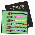 LE THIERS design colored handle  gift box of 6 forks mixed colors handles