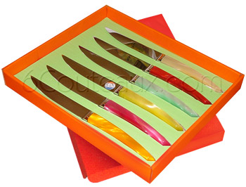 Le Thiers knives, Box 6 Le Thiers colored acrylic steak knives