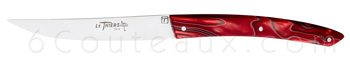 Le THIERS knives, Boxes with 6 colored Thiers steak knives marbered RED