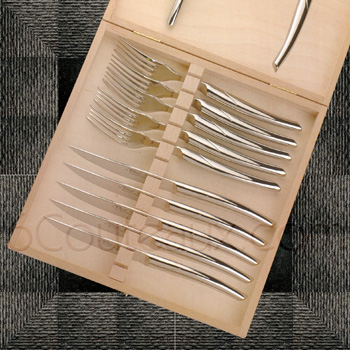Le Thiers knives, Box 6 MONOBLOC steak knives and 6 forks Le Thiers stainless steel